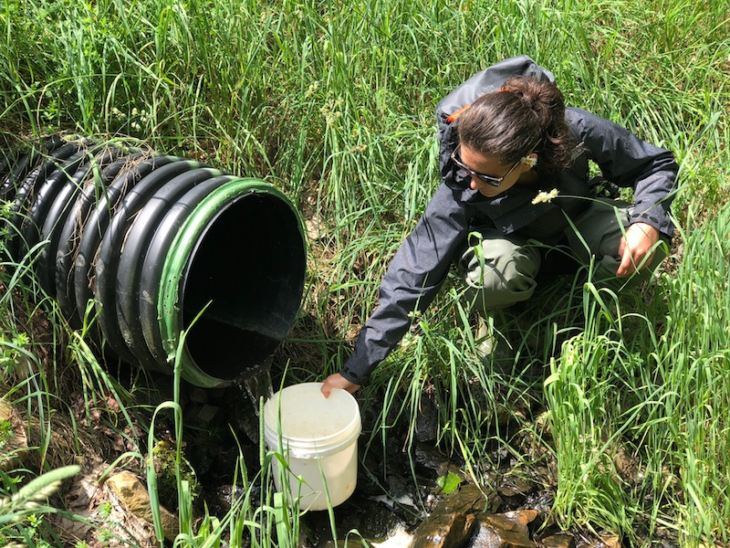 Adventure WV student taking water sample