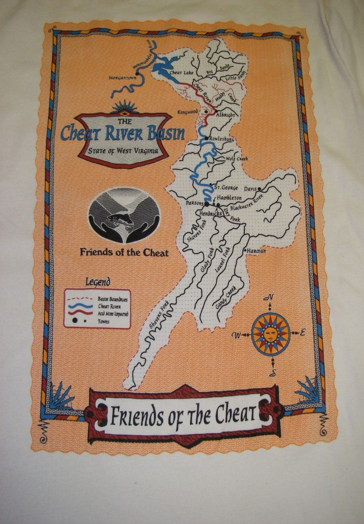 Picture of the Cheat River Basin, as a map on the Map Tee
